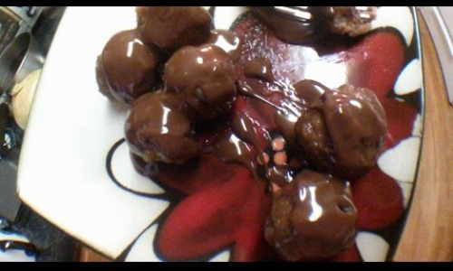 Cold Meatballs And Melted Chocolate